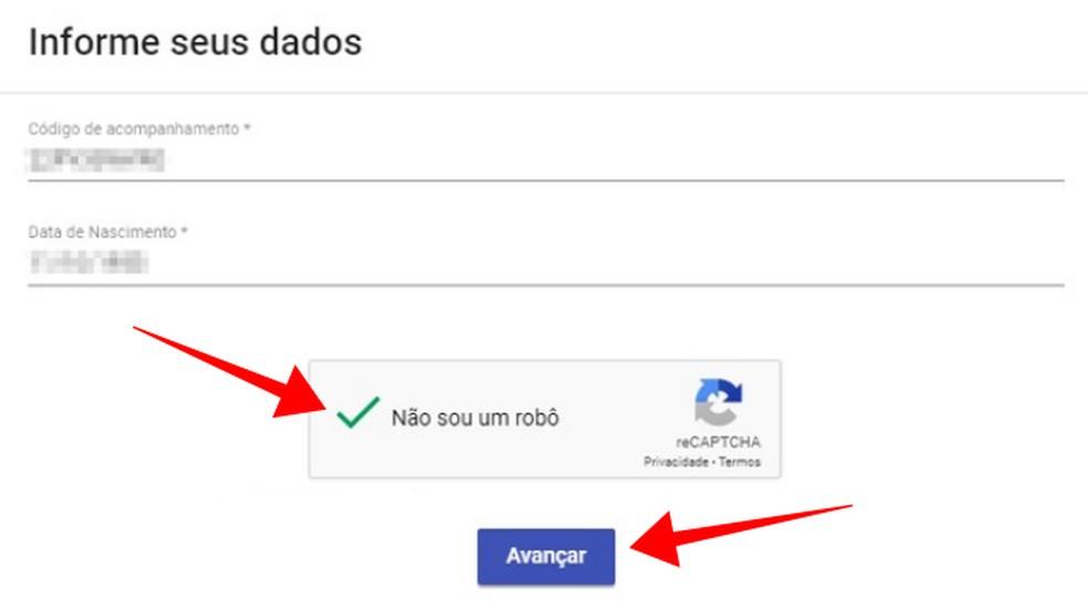 Insira o código de acompanhamento para ver o status do pedido — Foto: Reprodução/Paulo Alves