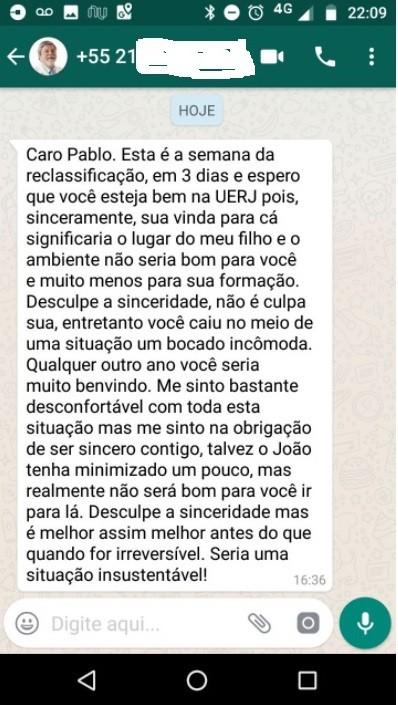 Chefe do Servidores do Estado do Rio pede que residente desista de vaga para dar lugar ao filho dele