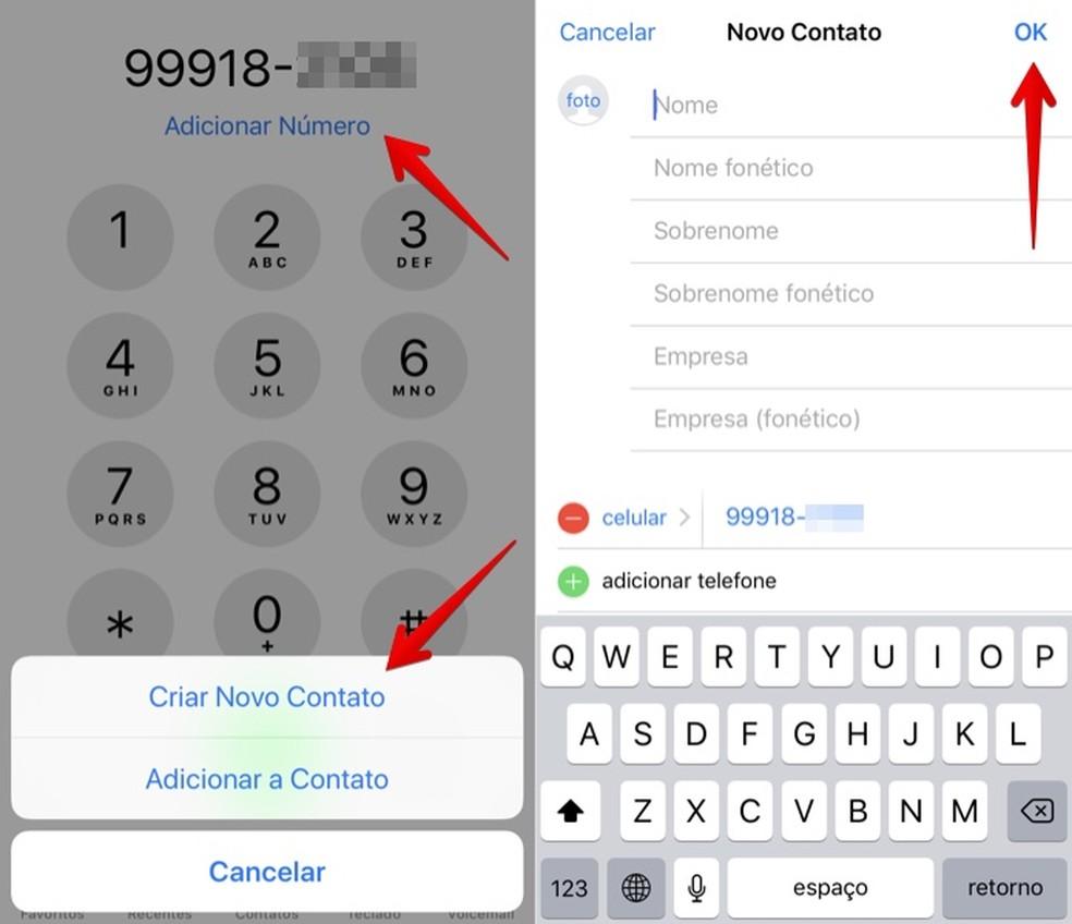 Crie um novo contato com o seu número (Foto: Reprodução/Helito Bijora)