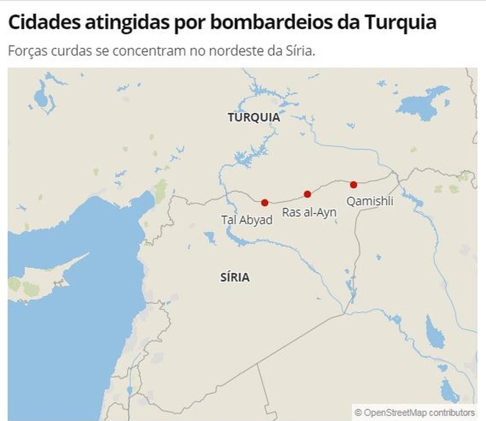 Localidades atingidas pela ofensiva turca desta quarta-feira (9) — Foto: G1 Mundo