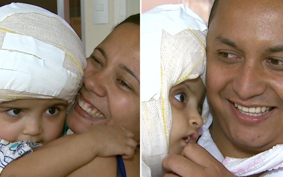 Pais celebram alta médica das gêmeas no Hospital das Clínicas em Ribeirão Preto, SP — Foto: Reprodução/EPTV