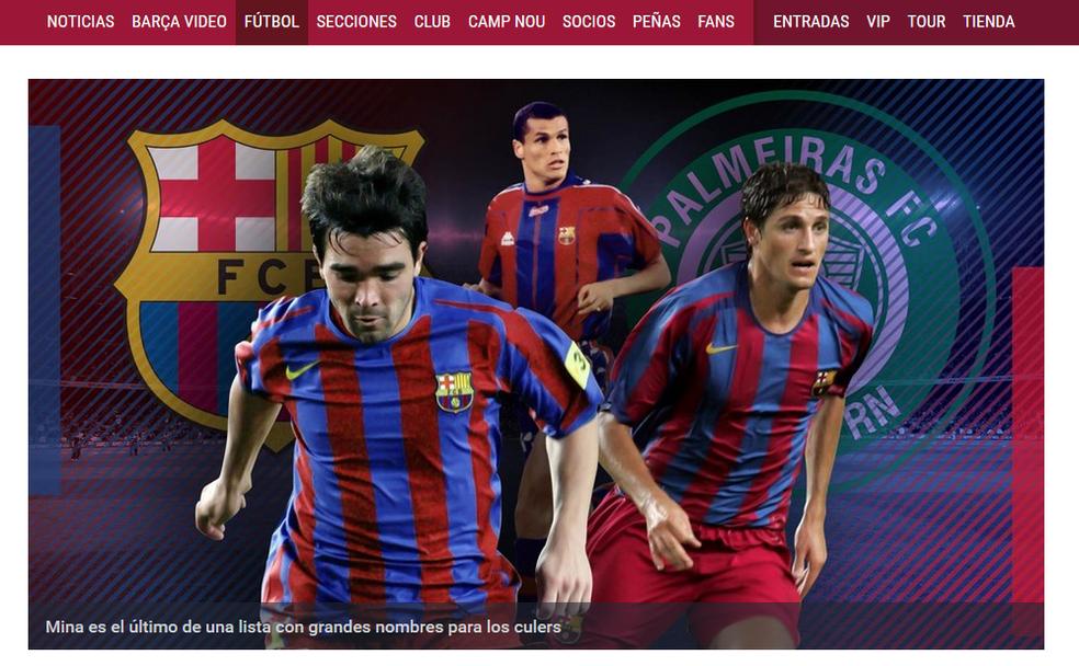 Barcelona comete gafe em seu site oficial e mostra escudo errado do Palmeiras (Foto: reprodução)