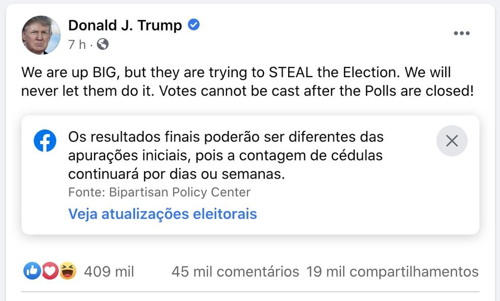 Publicação de Trump no Facebook também recebeu um selo de aviso. — Foto: Reprodução