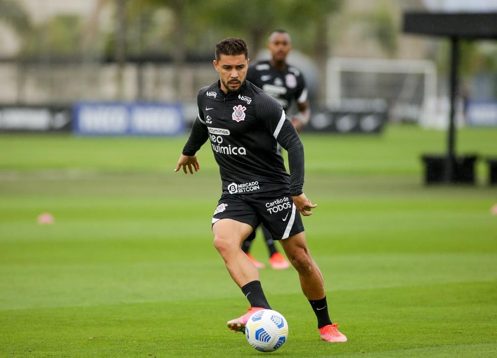 João Pedro em treino do Corinthians — Foto: Rodrigo Coca/Ag. Corinthians