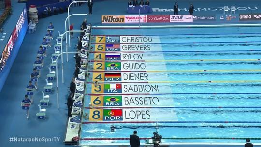 Guilherme Guido termina em segundo na semifinal 2 dos 50m costas