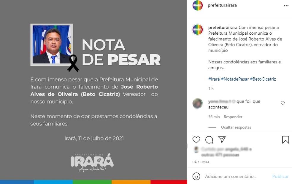 Prefeitura lamentou a morte do vereador, ocorrida neste domingo (11), na cidade de Irará — Foto: Reprodução/Redes sociais