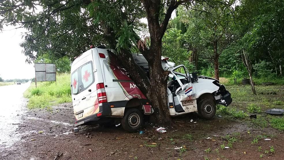 Ambulância de São Benedito do Rio Preto colidiu em árbore na BR-135 (Foto: Divulgação/PRF)