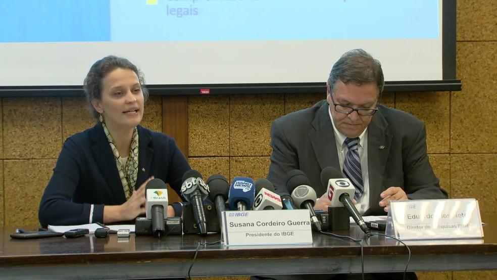 Presidente do IBGE, Susana Guerra, e diretor de Pesquisas do IBGE, Eduardo Rios-Neto — Foto: Reprodução / TV Globo