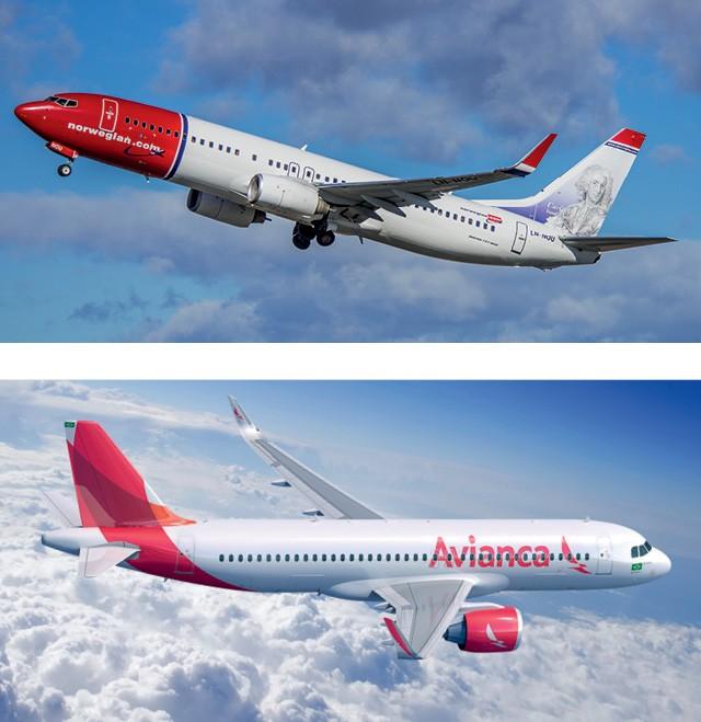 Aviões da Norwegian, que estreou voos para Londres por R$ 1 mil, e da Avianca, que não conseguiu se sustentar no Brasil (Foto: Divulgação)