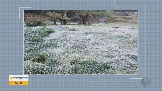 Cidades amanhecem com temperaturas baixas e geada no Sul de MG