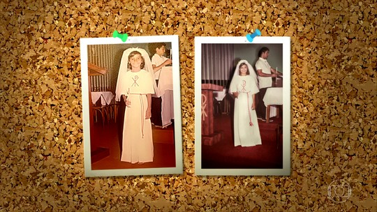 Dira Paes refaz foto da sua primeira comunhão no 'Memória Fotográfica', do 'Caldeirão'