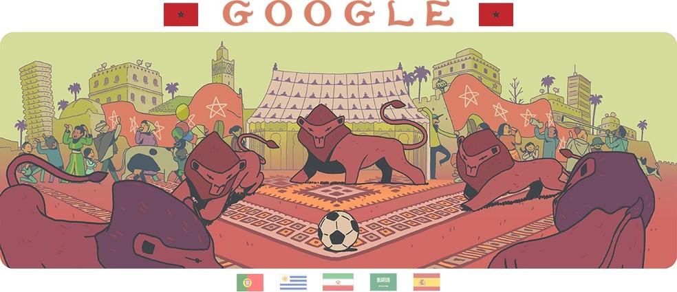 Doodle do Marrocos destaca leões, ícone do país, jogando futebol (Foto: Reprodução/Google)