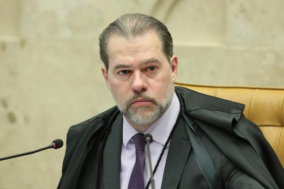 O presidente do STF, ministro Dias Toffoli, durante sessão do tribunal — Foto: Carlos Moura/STF