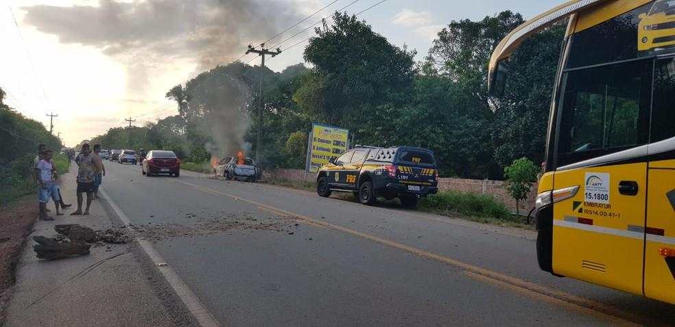 Duas crianças são atropeladas em acidente na BR-402 no MA — Foto: Divulgação/PRF