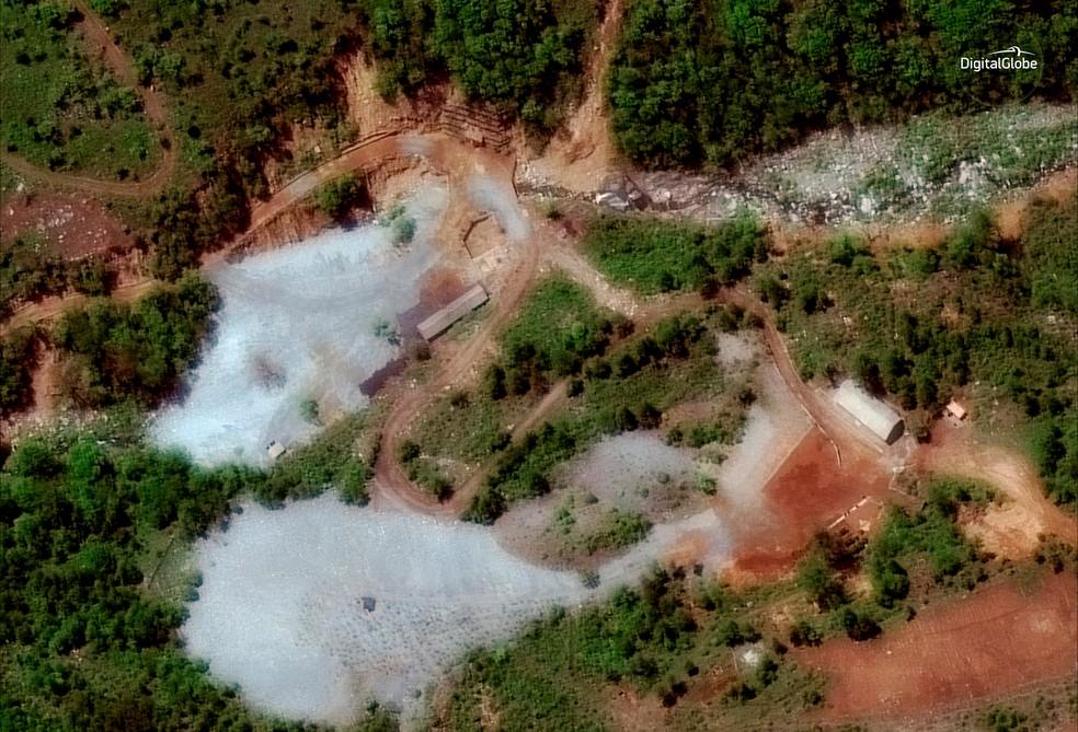 Centro de testes nucleares Punggye-ri, na Coreia do Norte (Foto:  Satellite image © 2018 DigitalGlobe, a Maxar company/Handout via Reuters)