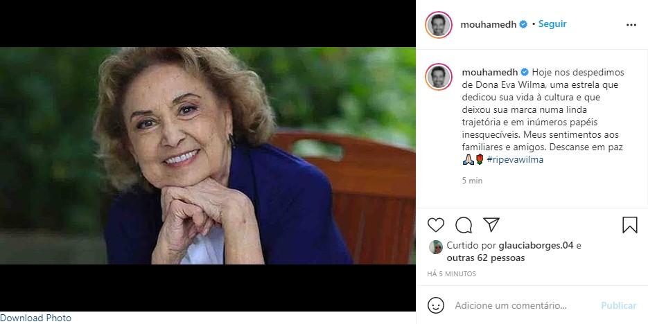 Mouhamed Harfouch: homenagem para Eva Wilma (Foto: Reprodução Instagram)