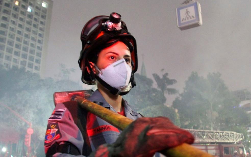 Soldado Tannús, uma das mulheres do efetivo que atua no desabamento de prédio (Foto: Divulgação/COM SOC CB - Cb PM Arrais)