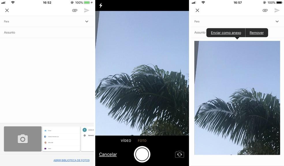 App do Gmail envia fotos capturadas na hora pelo celular — Foto: Reprodução/Rodrigo Fernandes