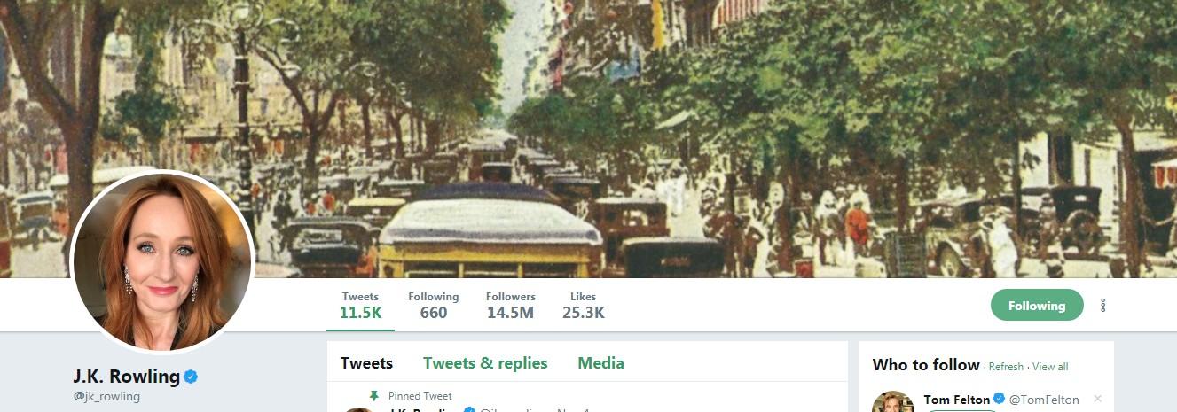 A imagem de fundo mostra o Rio de Janeiro na década de 1930 e intrigou os fãs de J.K. Rowling (Foto: Reprodução/Twitter/J.K. Rowling)