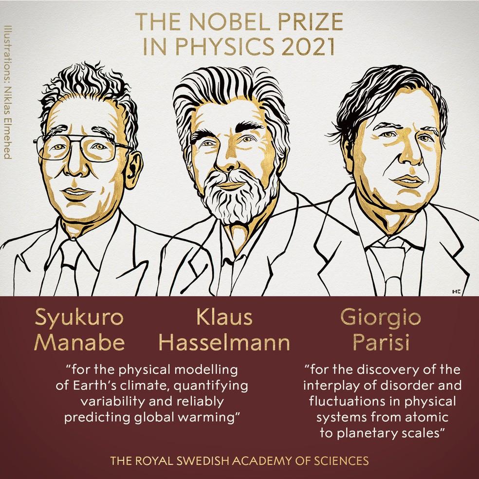 Syukuro Manabe, Klaus Hasselmann e Giorgio Parisi  — Foto: Twitter/Nobel Prize