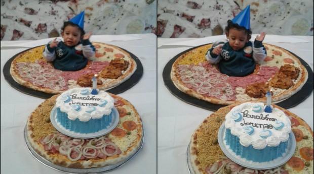 Neto de Ricardo dos Santos no meio de pizza especial, produzida para o Dia da Pizza (Foto: Divulgação)