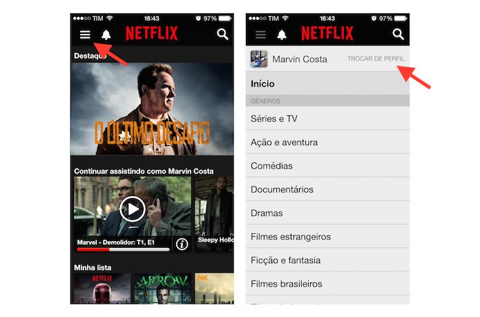 Acessando a página de perfis do Netflix pelo celular (Foto: Reprodução/Marvin Costa)