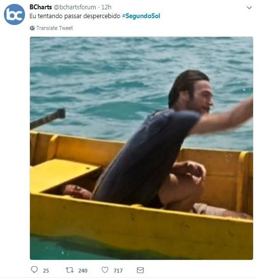 Usuário do Twitter faz meme com homem que apareceu em cena de 'Segundo Sol' (Foto: Reprodução / Twitter)