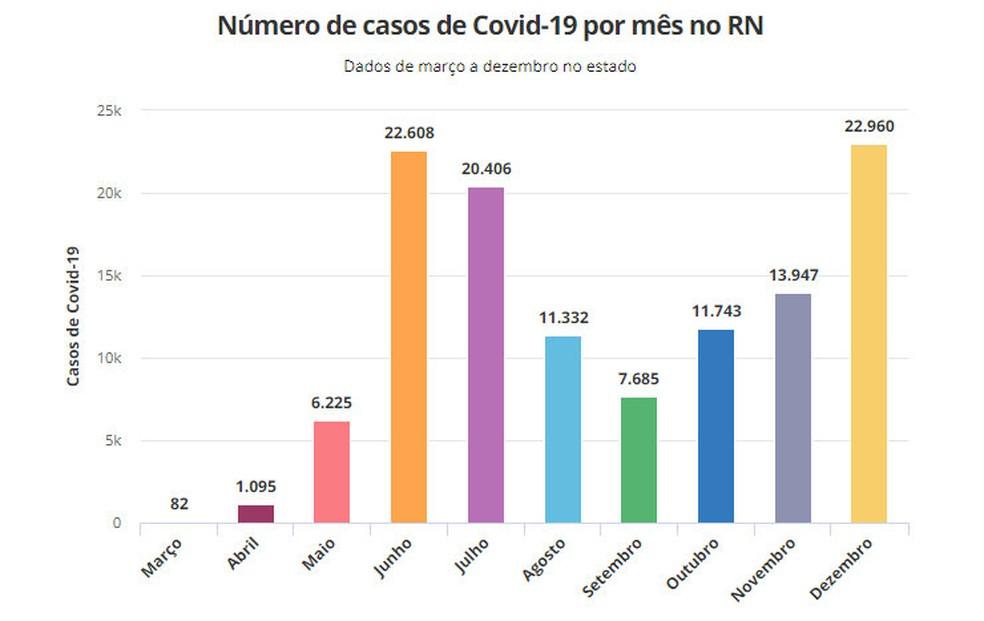 Número de casos de Covid-19 por mês no RN — Foto: G1