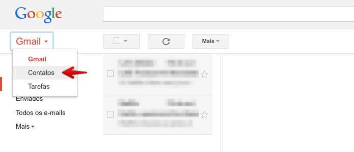 Acesse a página de contatos do Gmail (Foto: Reprodução/Helito Bijora)