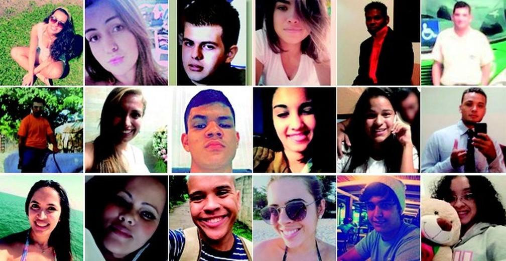Vítimas do acidente na Mogi-Bertioga: motorista e 17 estudantes morreram — Foto: Arte/G1