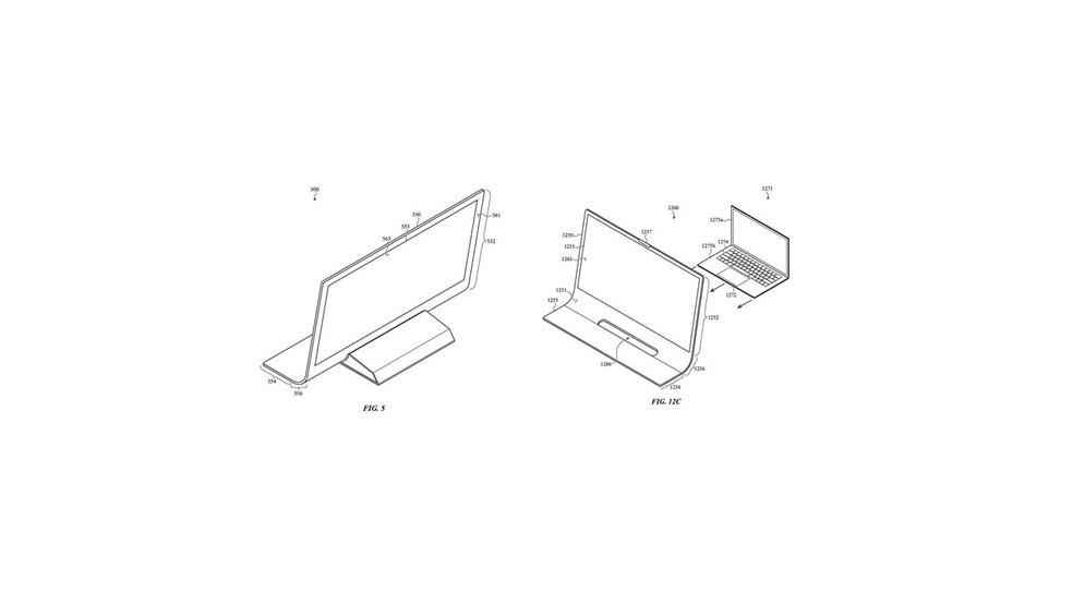 Sistema teria suporte que poderia abrigar componentes (Fig. 5) ou poderia servir como dock para o MacBook (Fig. 12c)) — Foto: Reprodução/USPTO