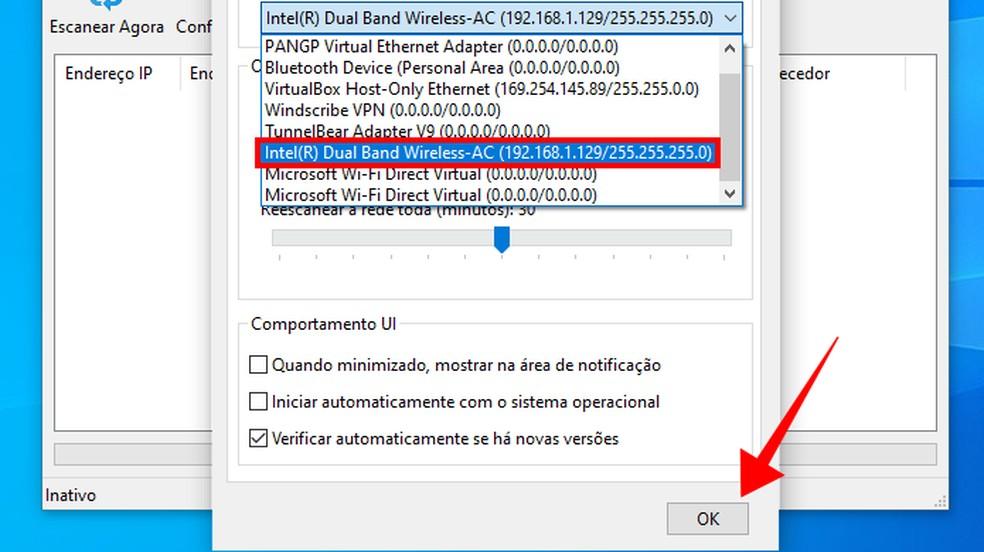 Selecione o adaptador de rede do computador no WiFi Guard — Foto: Reprodução/Paulo Alves