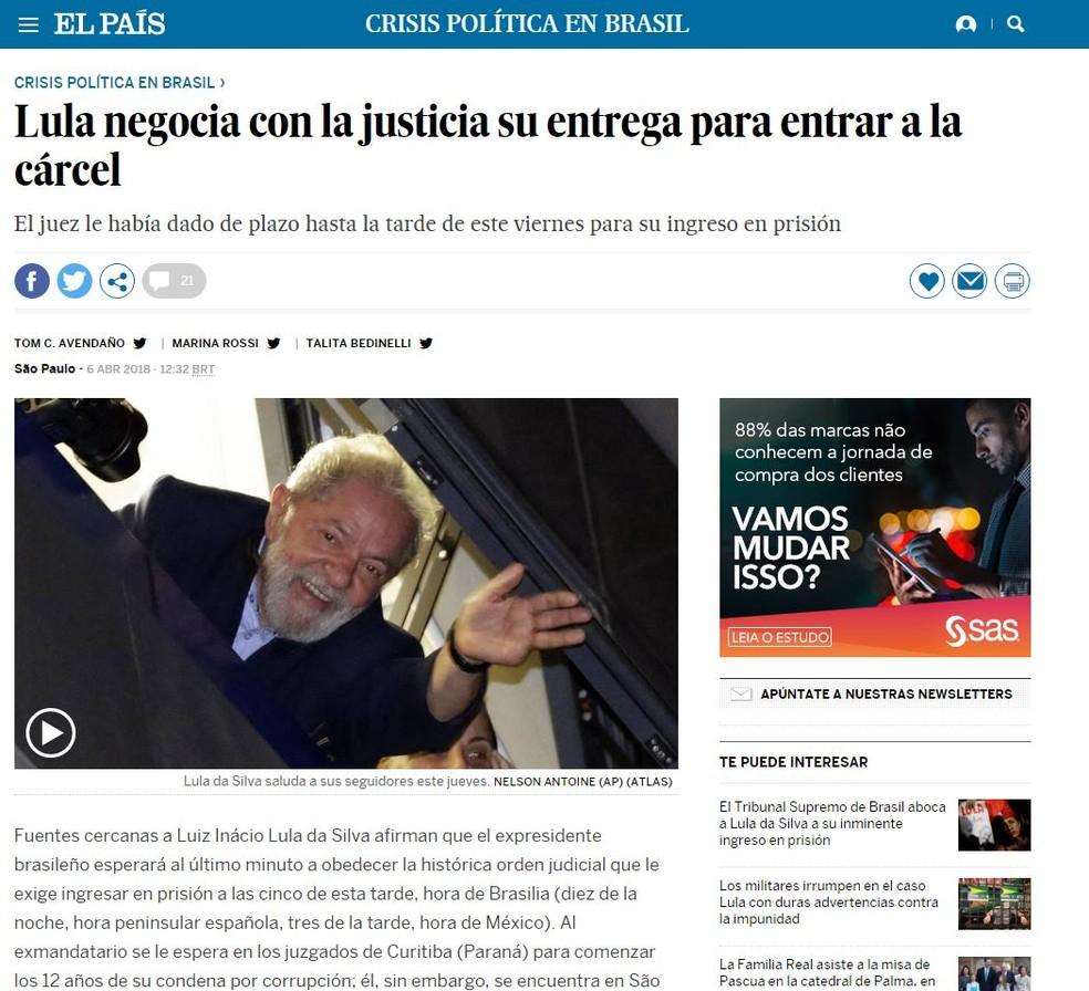 El País diz que Lula 'negocia' ida à prisão (Foto: Reprodução/El País)