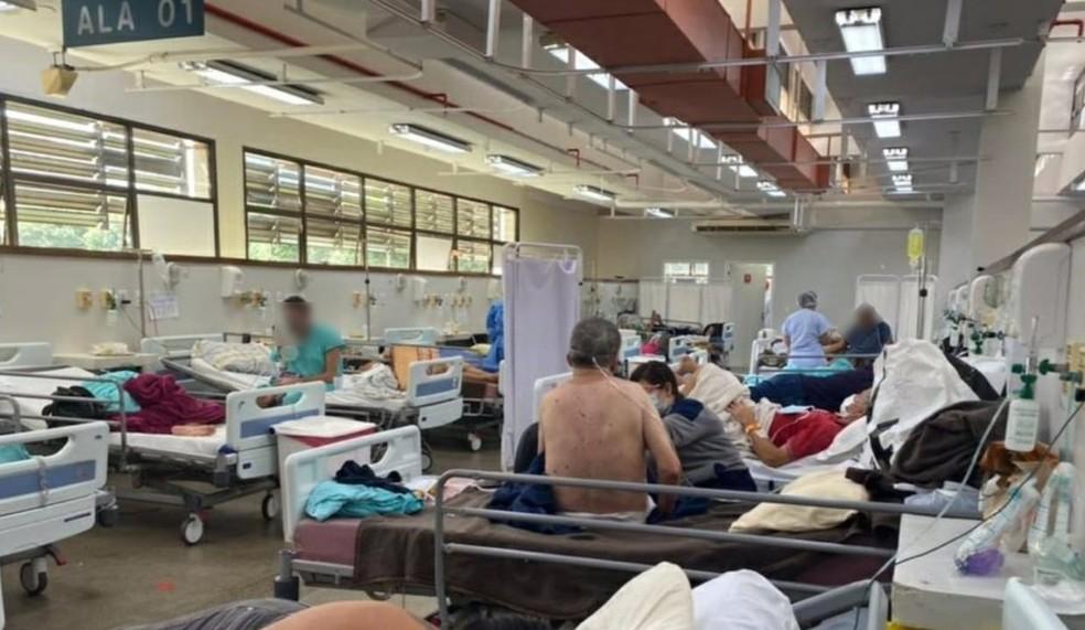 Leitos ocupados no Hospital Regional da Asa Norte (Hran), em Brasília — Foto: SindEnfermeiro-DF/Divulgação