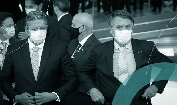 Arthur Lira e Jair Bolsonaro na reunião de chefes dos Três Poderes para discussão de enfrentamento à Covid-19