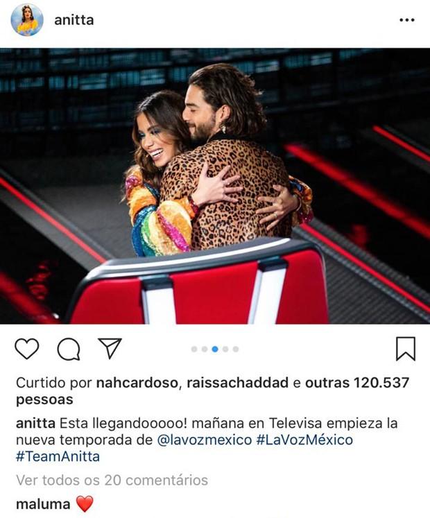 Comentário carinhoso de Maluma no post de Anitta (Foto: Reprodução/Instagram)