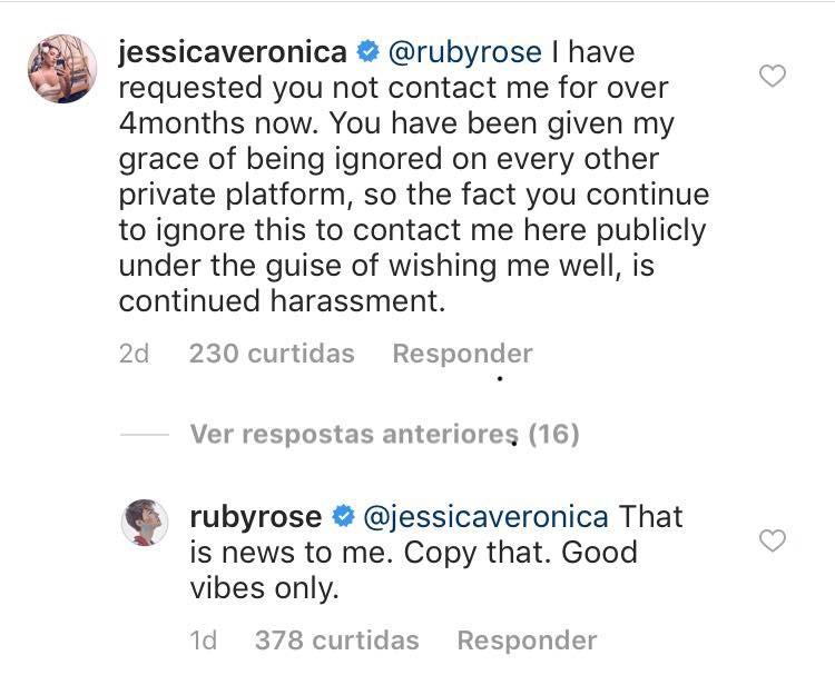 A acusação de assédio feita por Jessica Origliasso contra a ex-namorada e a resposta de Ruby Rose (Foto: Instagram)