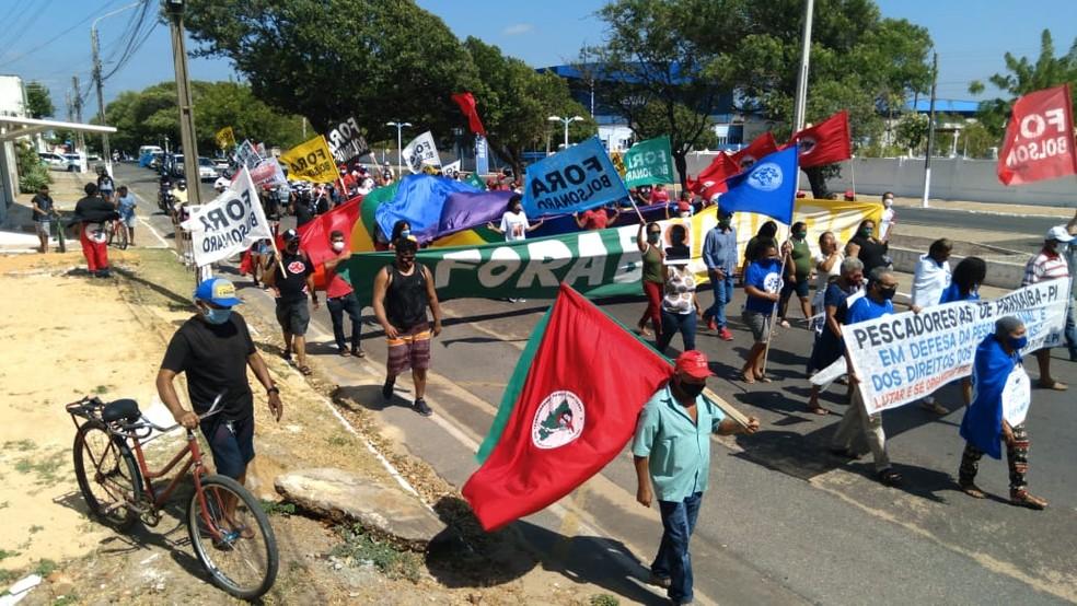 7 de Setembro: grupo protesta contra o governo Bolsonaro com caminhada em Parnaíba — Foto: Divulgação
