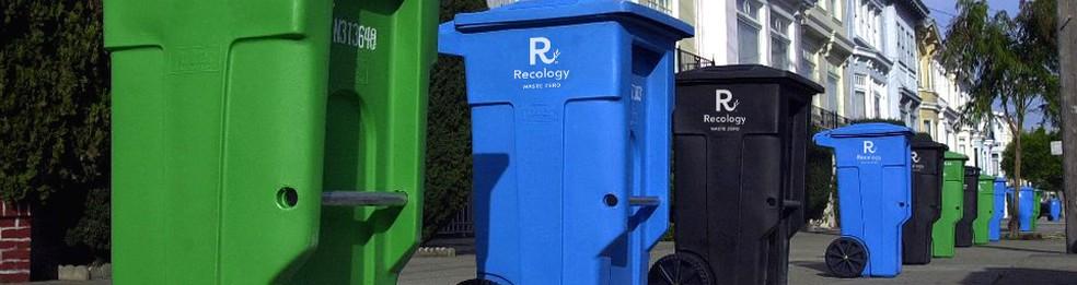 Existem três tipos de lixeira em San Francisco: a verde é para compostagem, a azul, para reciclagem, e a preta, para os resíduos destinados a aterros. — Foto: San Francisco Department of the Environment