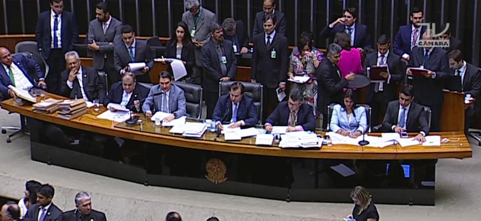 Votação na Câmara da segunda denúncia contra Temer (JN) (Foto: TV Globo)