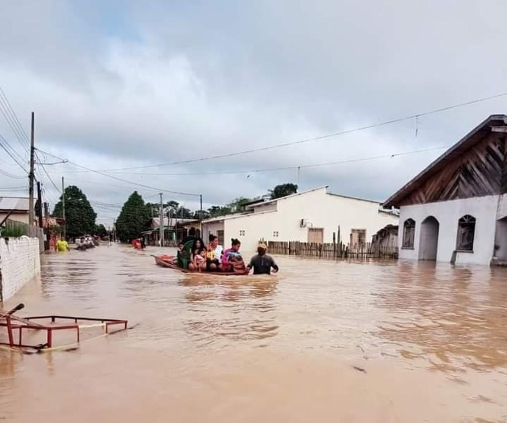 Tarauacá foi uma das cidades do Acre mais atingidas pela cheia e cerca de 28 mil pessoas foram afetadas — Foto: Arquivo pessoal