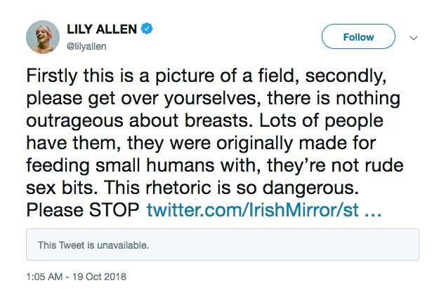 O post de Lily Allen rebatendo as críticas à sua blusa transparente (Foto: Twitter)