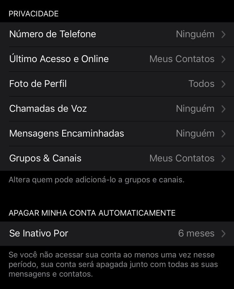 Menu de privacidade do Telegram permite configurar quem pode adicionar usuário em grupos ou ver informações pessoais. — Foto: Reprodução/G1