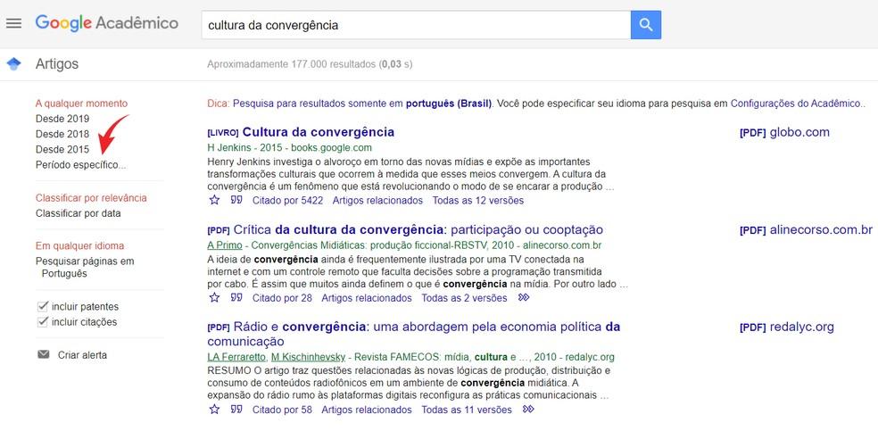 Encontre artigos mais recentes com a busca por período do Google Acadêmico — Foto: Reprodução/Ana Letícia Loubak