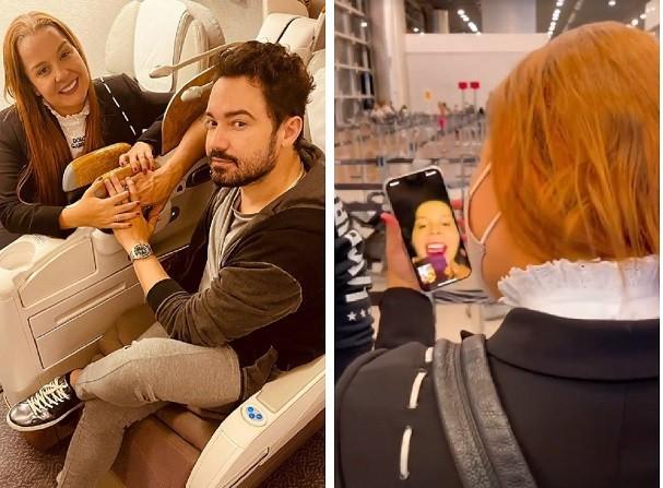 Maiara e Fernando no avião (Foto: Reprodução/Instagram)