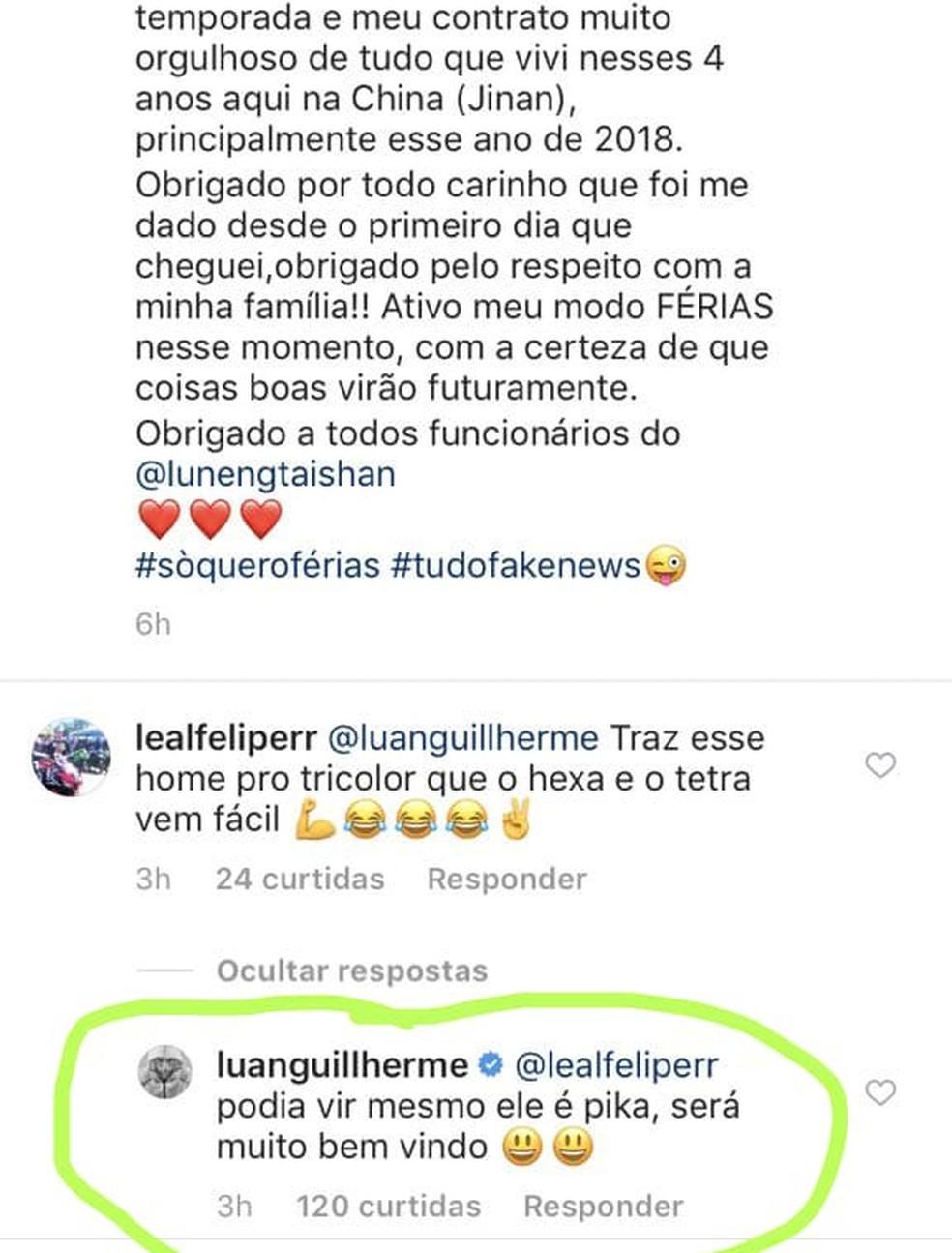 Luan fez comentário em postagem de Tardelli antes da contratação do atacante — Foto: Reprodução