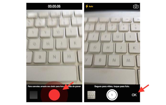 Finalizando a gravação de um vídeo no WhatsApp para iPhone (Foto: Reprodução/Marvin Costa)