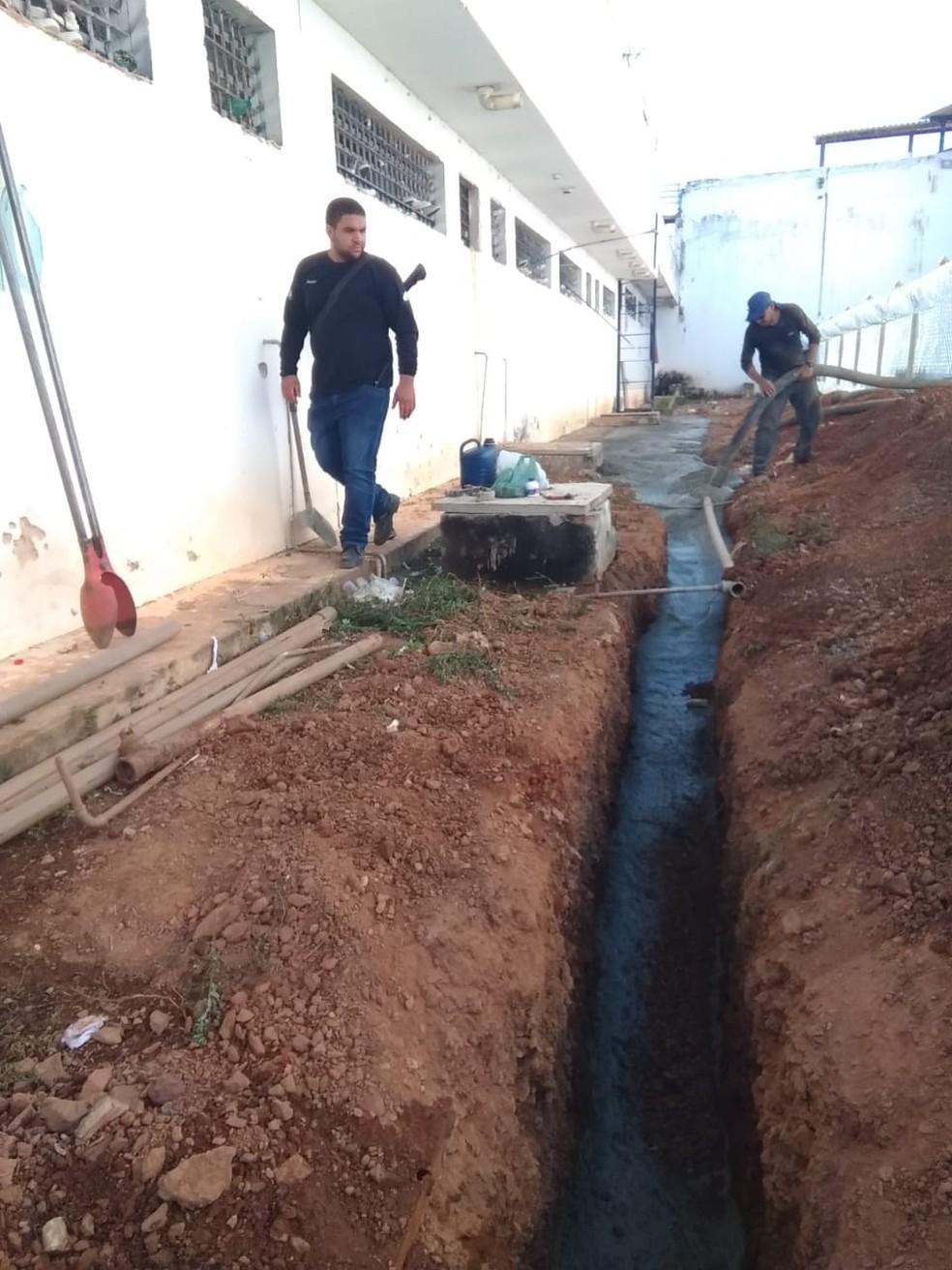Concreto usinado foi colocado em valas na CPP de Palmas — Foto: CPP Palmas/Divulgação