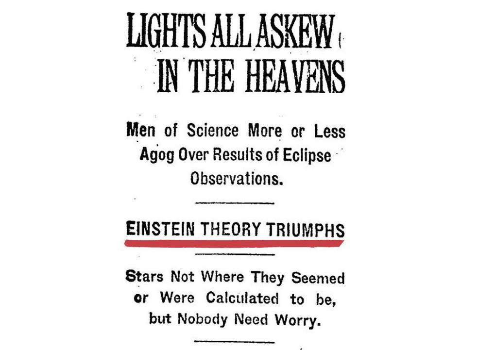 """""""Luzes distorcidas no céu"""", Teoria de Einstein triunfa"""", diz a capa do jornal americano The New York Times em 15 de novembro de 1919 — Foto: The New York Times"""