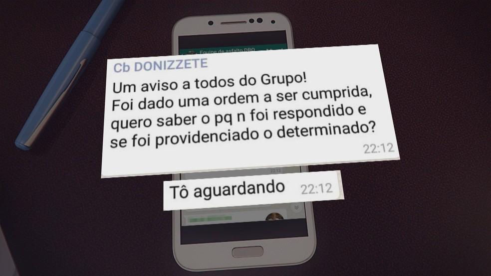 Mensagem do cabo da PM Daniel Donizet em grupo de funcionários da Administração Regional do Gama, no DF — Foto: TV Globo/Reprodução